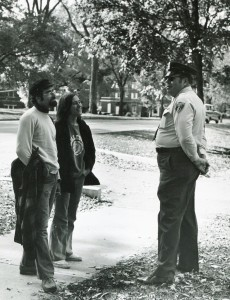 Officer talks with Students in the 1970s