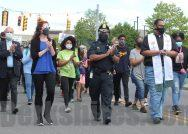 Pittsfield Police Chief Michael Wynn walks with a Black Lives Matter rally last summer.