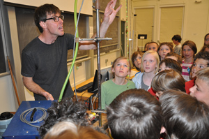 Physicist David Tucker-Smith welcomed local fourth-graders to his lab.