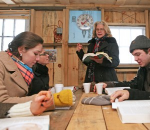 After a snowy sleigh ride to a cabin in the woods, Cassandra Cleghorn and her students read War and Peace during Winter Study.