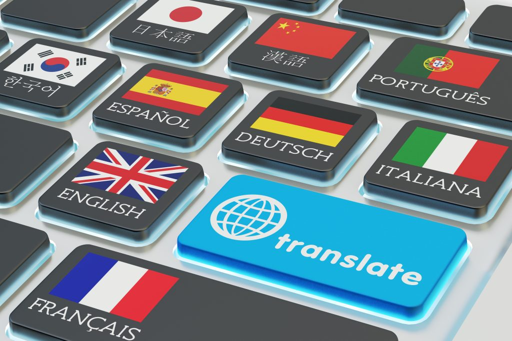 "A keyboard has a key for ""translate"" and other keys are marked with different languages."