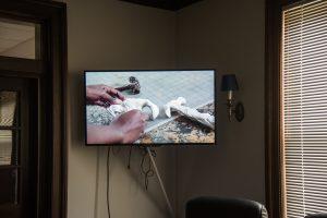 "Still shot of Ilana Harris-Babou's video ""Reparation Hardware (in progress),"" 2017. HD video."
