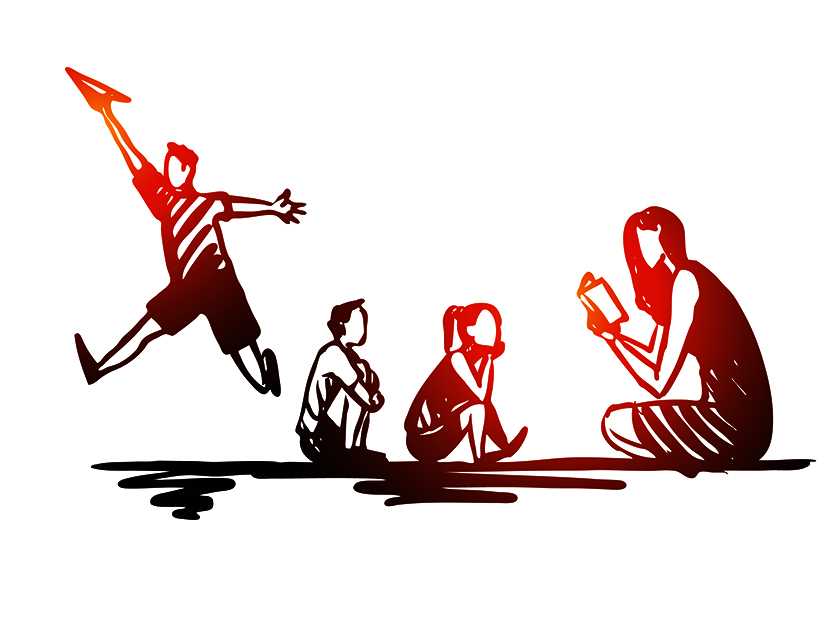 Illustration of a woman reading to two children with a third child up and playing with a paper airplane.