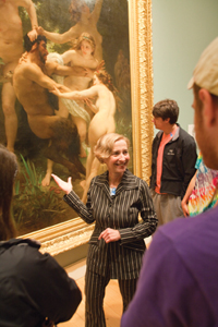 Art professor Carol Ockman and her students at the Williams College Museum of Art.