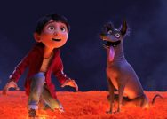 Photograph of the characters Miguel (left) and Dante the dog (right) from the movie