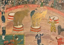 "Detail from ""Circus,"" 1950. Tempera and gold leaf on incised, gessoed masonite. By Charles Prendergast."