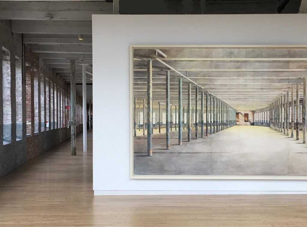 Photograph of a large water color painting of the interior of Building 6, an expansion of the Massachusetts Museum of Contemporary Art, painted by Barbara Ernst Prey, Williams Class of 1979.