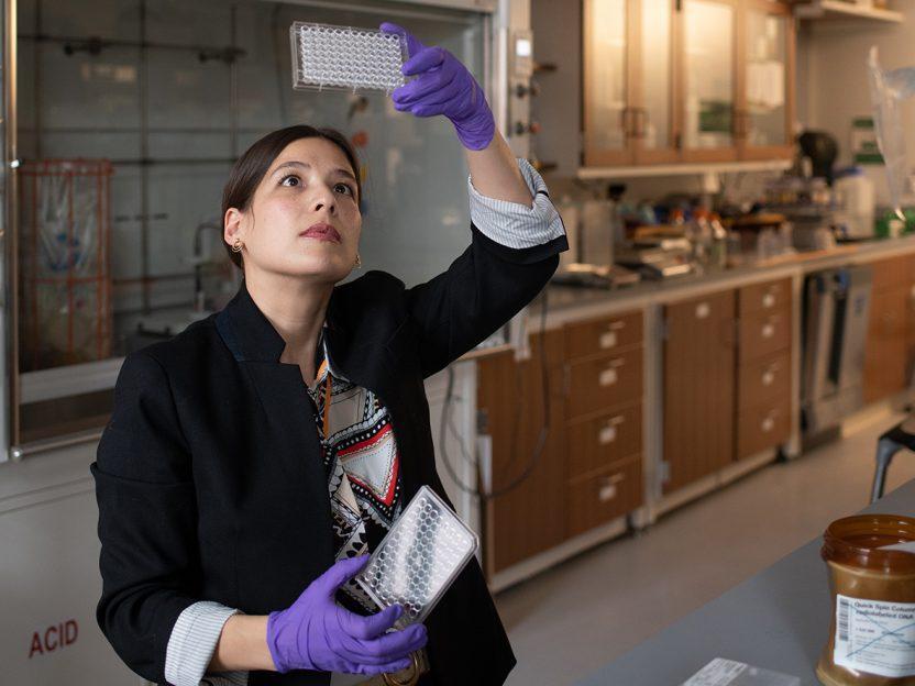 Chemistry professor Katie Hart in her lab