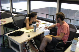 Students study in Sawyer