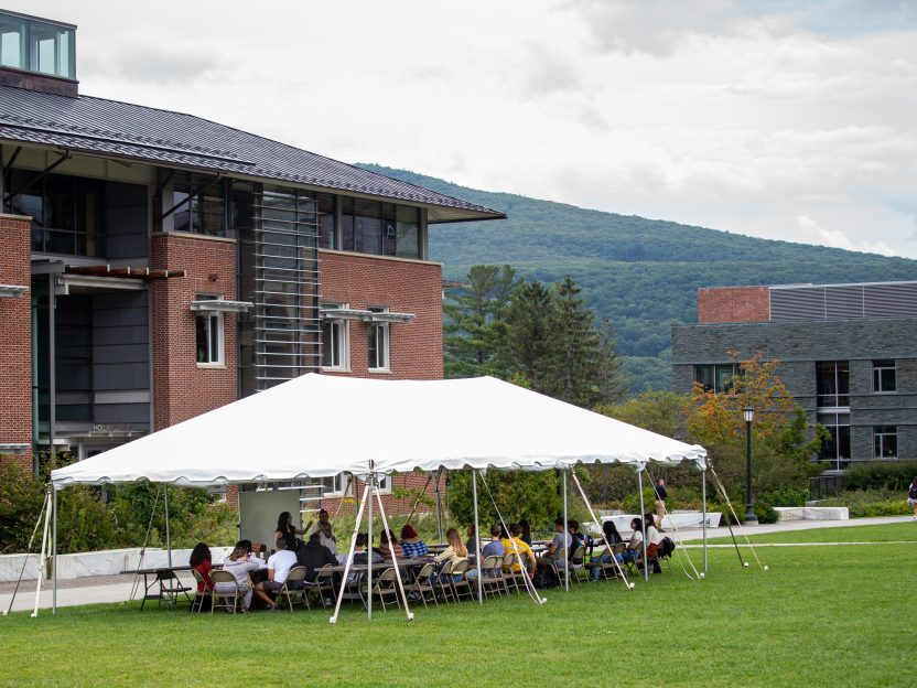 A teaching tent set up in the library quad