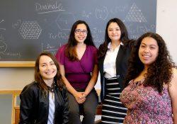 From left: Nohemi Sepulveda '18, Dalia Luque '18, assistant professor of mathematics Pamela Harris, and Claudia Reyes '18.