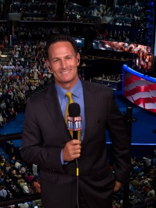 KKTV Fox 11 reporter Phil Shuman '79 at the conventions.