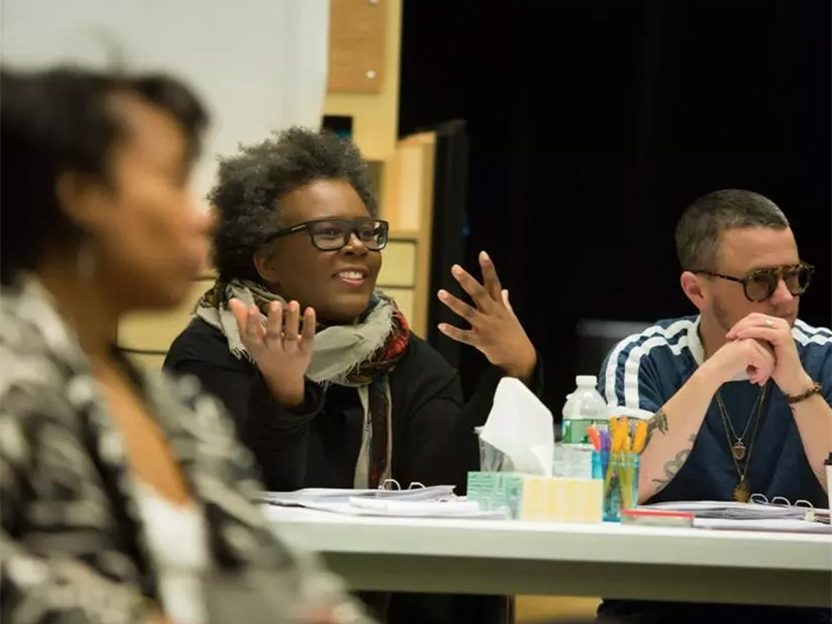 Claudia Rankine, Williams Class of 1986, seated, center, at a rehearsal for her new play, The White Card.
