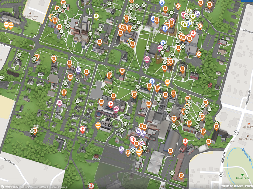 Screen shot of campus map highlighting sustainability efforts