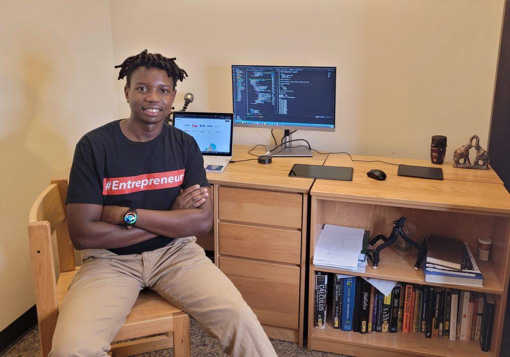 Tafara Makaza '22 in his room in Morgan Hall.