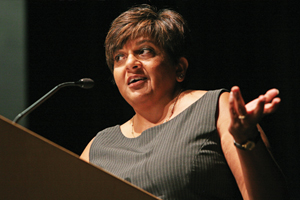 Williams Bicentennial Medal winner Navjeet K. Bal, class of 1984, speaks during convocation weekend 2011.