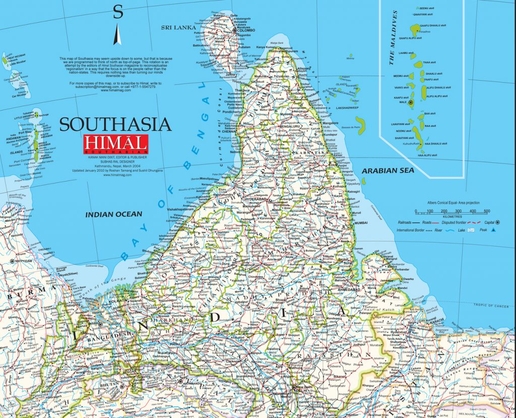 A map of India includes an ad for Southasian Himal magazine.