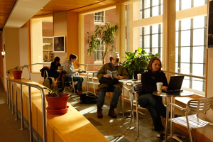 Coffee and quiet study in Schow atrium