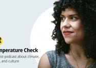 A side profile of filmmaker Cecilia Aldarondo next to the logo for the podcast Temperature Check.