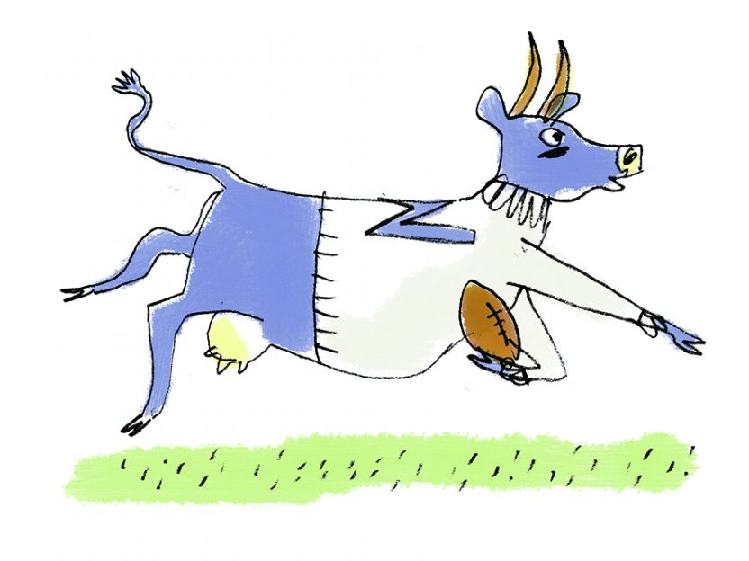 A cartoon illustration of Ephelia the cow carrying a football