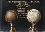 Photographs of baseballs from first collegiate baseball game, between Williams and Amherst