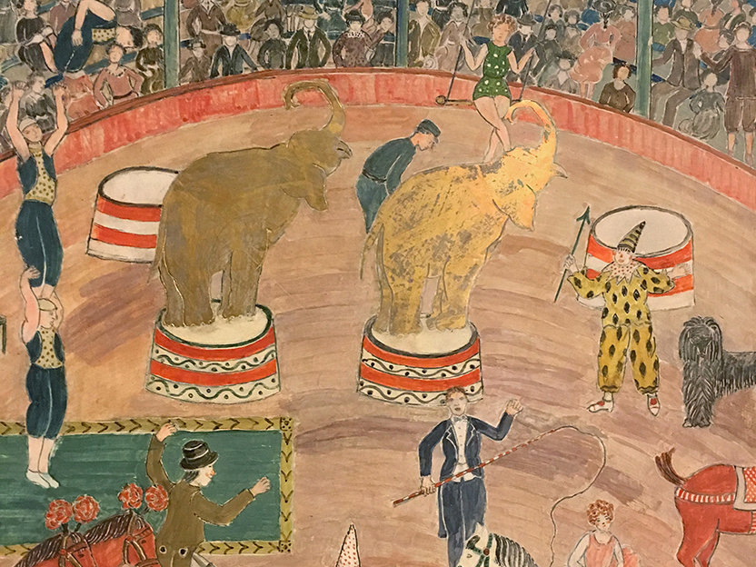 """Detail from """"Circus,"""" 1950. Tempera and gold leaf on incised, gessoed masonite. By Charles Prendergast."""