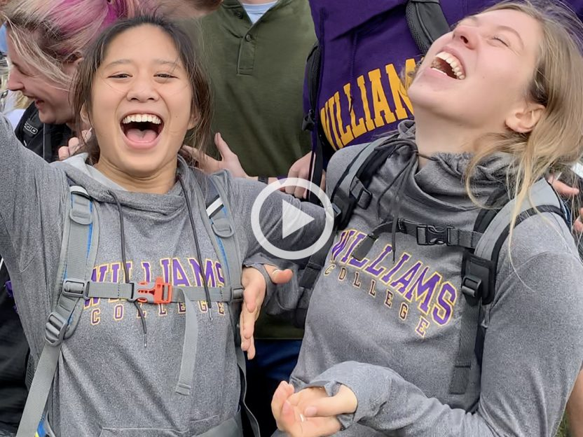 Two Williams students laughing