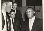 A black and white photo of the Reverend Martin Luther King Jr.