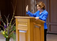 Williams president-elect Maud S. Mandel addresses the campus community in April.