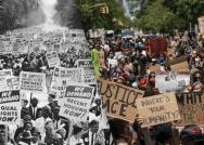 Left: Between 200,000 and 500,000 demonstrators march down Constitution Avenue during the March on Washington for Jobs and Freedom, Washington D.C., Aug. 28, 1963; Right: Protesters gather in Harlem to protest the recent death of George Floyd on May 30, 2020 in New York City. Hulton Archive/Getty Images; David 'Dee' Delgado—Getty Images