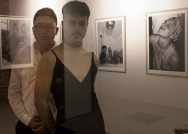 From left: Alex Jen, Williams Class of 2019, curated an exhibition of black and white photographs by Hudson Bohr, Williams Class of 2018, inside Cable Mills residential apartments.